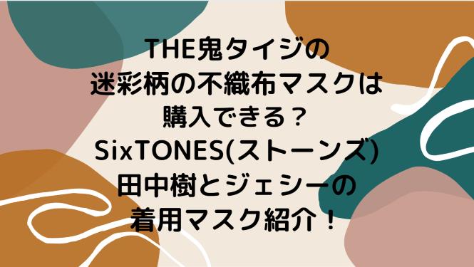 THE鬼タイジの迷彩柄の不織布マスクは購入できる?SixTONES(ストーンズ)田中樹とジェシーの着用マスク紹介!