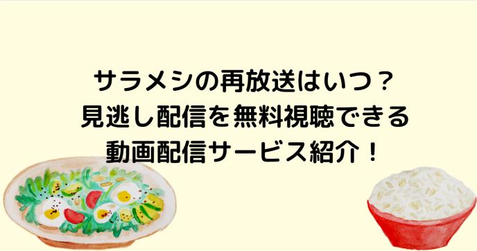 サラメシの再放送はいつ?見逃し配信を無料視聴できる動画配信サービス紹介!